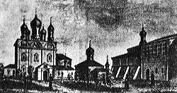 Вид монастырского двора изнутри, в центре - церковь Марии Египетской, 1885 г.