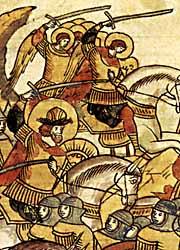 Воинство Божие, пришедшее на помощь Александру. Миниатюра Лицевого летописного свода XVI в.
