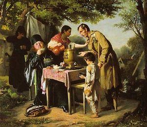 Загрузить увеличенное изображение. 508 x 442 px. Размер файла 56078 b.  A Tea Party in Mytischi. Vasily Perov, 1862.