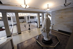 Photo: AP Images / Susan Walsh. A plaster model of the Statue of Freedom, which was used to cast the Statue of Freedom atop the Capitol Dome, is the centerpiece in Emancipation Hall in the Capitol Visitor Center on Capitol Hill in Washington.