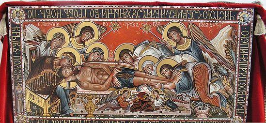 Загрузить увеличенное изображение. 800 x 370 px. Размер файла 166136 b.  Андрей Давыдов, священник. Плащаница пасхальная – погребение Христа. Энкаустика, шитье