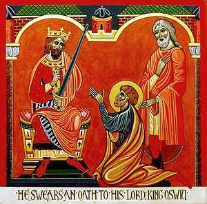 Загрузить увеличенное изображение. 406 x 400 px. Размер файла 90146 b.  Преподобный Бенедикт Бископ с королем Осви