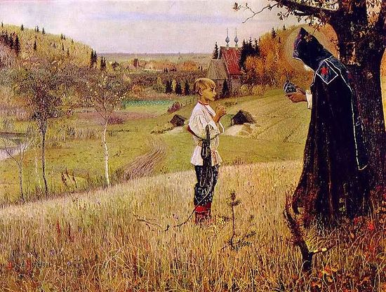 Vision of Young Bartholemew. A painting by Mikhail Vasilievich Nesterov (1862-1942).