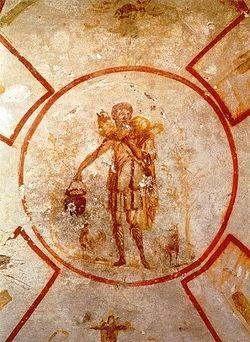 Загрузить увеличенное изображение. 438 x 599 px. Размер файла 81964 b.  Иисус - Добрый Пастырь. Катакомбы Калликста в Риме. Около 250 г.