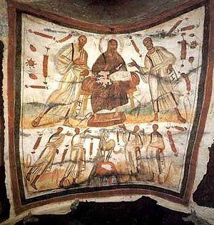 Загрузить увеличенное изображение. 400 x 420 px. Размер файла 40977 b.  Христос на троне с предстоящими апостолами Петром и Павлом. Катакомбы Петра и Марцелла в Риме. 4 в.