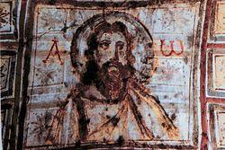 Загрузить увеличенное изображение. 600 x 401 px. Размер файла 77388 b.  Иисус - Альфа и Омега. Катакомбы Коммодиллы. 4 в.
