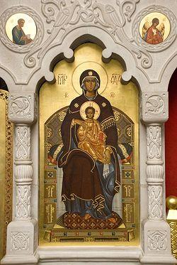 Загрузить увеличенное изображение. 536 x 800 px. Размер файла 123512 b.  Пресвятая Богородица. Иконостас левого придела в честь преподобной Марии. Сретенский монастырь