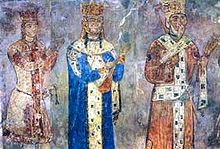 The royal panel at the Betania monastery: George IV Lasha, Tamar, and George III (from left to right).