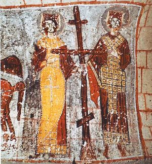 Поклонение кресту. Царь Константин и Царица Елена. Фреска. Каппадокия, XII век