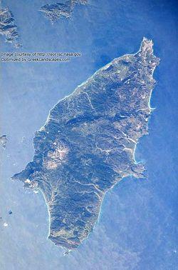 Satellite photo of Rhodes Island.