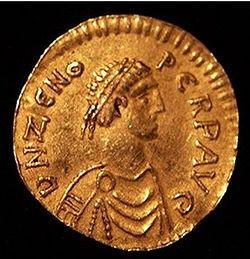 Загрузить увеличенное изображение. 595 x 301 px. Размер файла 56365 b.  Монета императора Зинона