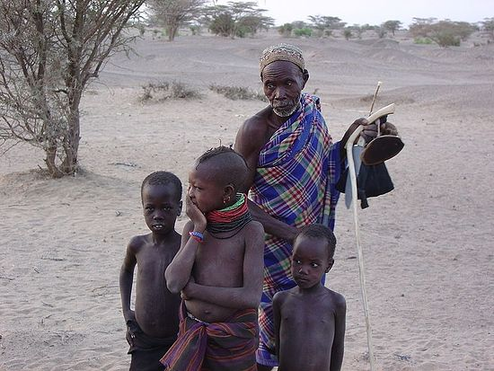 Turkana man and children.