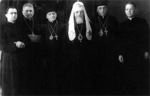 Члены Инициативной группы по воссоединению Греко-Католической Церкви с Православной на приеме у Святейшего Патриарха Московского и всея Руси Алексия I. Москва, 1946 г.