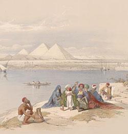 Пирамиды Гизы, вид с Нила. Рисунок Д.Робертса. Середина XIX в.