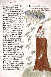 Моисей и нашествие саранчи. Миниатюра 1445 г.