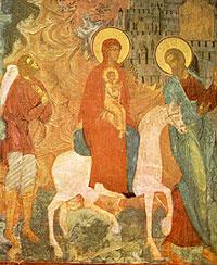 Бегство в Египет. Фреска Софийского собора в Вологде.