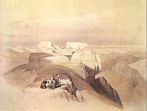 На вершинe горы Синай. Рисунок Д.Робертса XIX в.