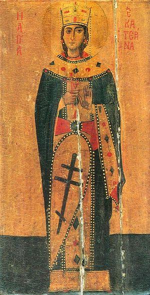 Загрузить увеличенное изображение. 400 x 786 px. Размер файла 142311 b.  Святая великомученица Екатерина. Древняя икона из Синайского монастыря