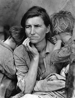 """Migrant Mother,"" photo by Dorothea Lange, 1936."