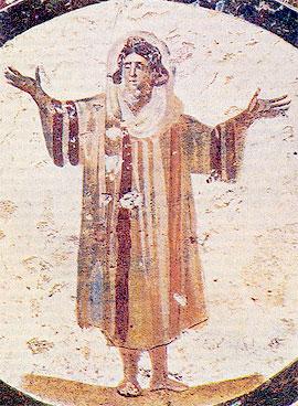 Оранта. Фрагмент росписи свода. Вторая половина III в. Катакомбы Каллиста. Рим