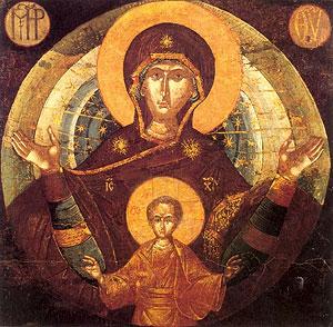 Икона Богоматери «Платитера». XV в. Греция
