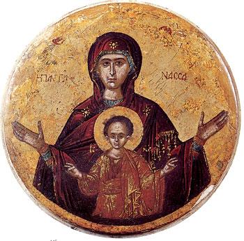 Икона Богоматери «Пантонасса». XV–XVI вв. Греция