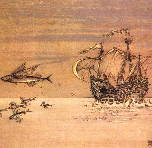 Демьян Утенков. Летающая рыба, корабль. Офорт