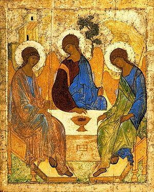 Святая Троица. Иконописец: преподобный Андрей Рублев. Первая четверть XV в.