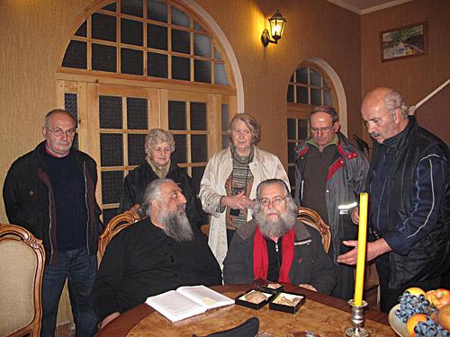 Архиепископ Стефан и Жан-Клод Ларше на конференции, посвященной преподобному Максиму Исповеднику