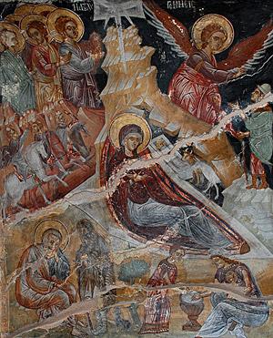 Загрузить увеличенное изображение. 100 x 100 px. Размер файла 0 b.  Рождество Христово. Фреска древней сербской церкви. Монастырь святого Павла. Святая гора Афон