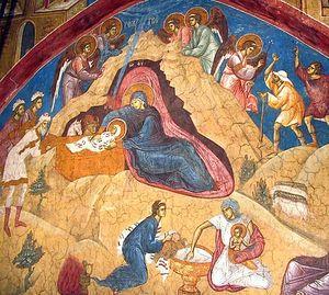Загрузить увеличенное изображение. 742 x 557 px. Размер файла 118539 b.  Сербия. Монастырь Высокие Дечаны. Фреска XIV века
