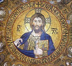 Загрузить увеличенное изображение. 400 x 363 px. Размер файла 78186 b.  Christ Pantocrator. Mosaic, Palermo.