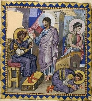 Загрузить увеличенное изображение. 420 x 461 px. Размер файла 63307 b.             Пророк Нафан обличает царя Давида. Миниатюра Парижской псалтири Х век.