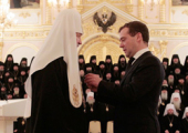 President Dimitry Medvedev awards His Holiness Patriarch Kirill with the Order of St. Alexander Nevsky.