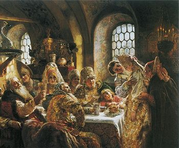 Boyar wedding feast in the 17the century. Constantine Makovsky, 1883.
