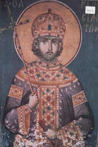 Святой равноапостольный Константин. Фреска Эммануила Панселина в храме Протата на святой Горе Афон