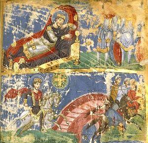 Сон Константина и Победа Константина над Максенцием у Мульвиева моста в Риме 26 октября 312 года. Византийская миниатюра. IX век