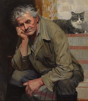 Tatiana Yushmanova. Portrait of Uncle Sasha Korolev.1999. Oil and canvas. 80�70 ��