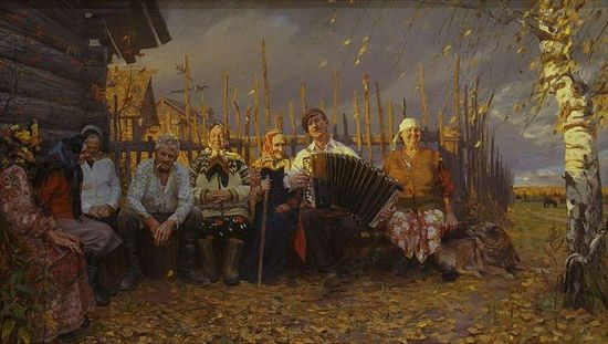 Tatiana Yushmanov. Village get-togethers. 2000 . Oil and canvas. 200�300 ��