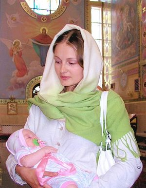 Russian woman with child.