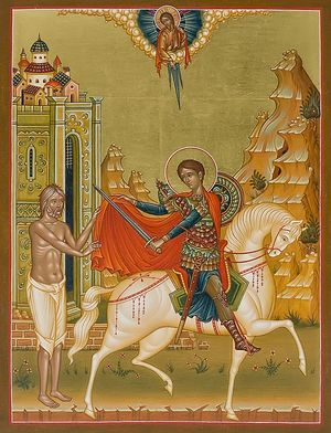 St. Martin of Tours cutting his cloak to clothe the poor man.