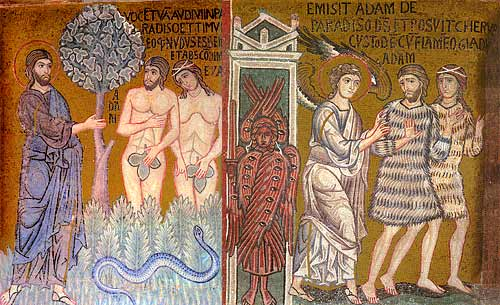"The Lord Confronts the Disobedience of Adam & Eve; ""The Expulsion from Paradise"", Nave Mosaics from Palatine Chapel, Palermo, Sicily. Mid 12th Century."