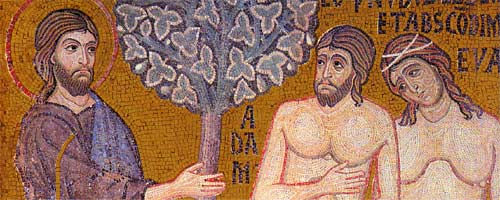 1. Ashamed for the sin that they committed by eating the fruit from the tree of the knowlege of good and evil, Adam and Eve now stand before Christ
