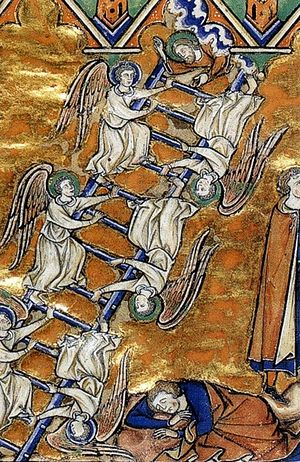Лествица Иакова. Миниатюра в рукописи. Франция, ок. 1250
