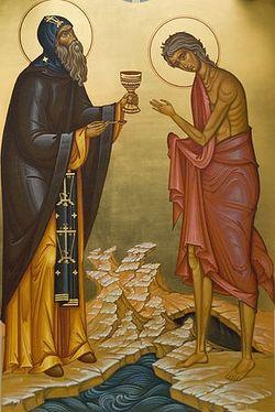 Святой Зосима причащает преподобную Марию Египетскую. Иконостас левого придела в честь преподобной Марии