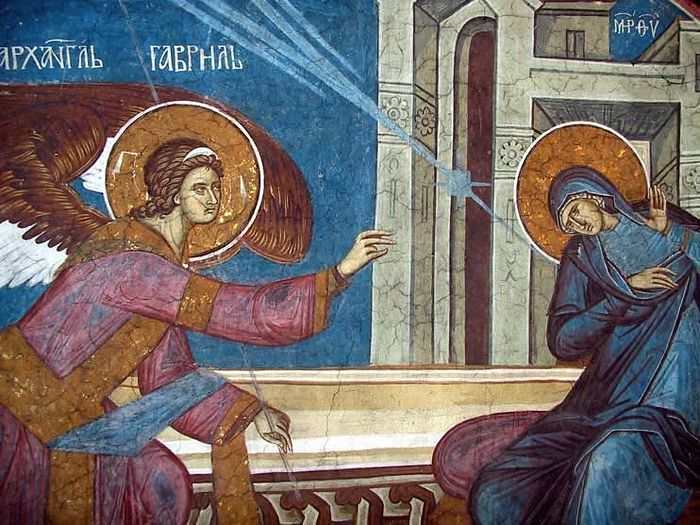The Annunciation. Fresco in High Decani Monastery (Kosovo, Serbia) 14th century