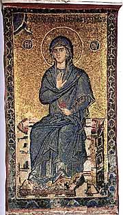 Богоматерь из сцены Благовещение. Мозаика. XIV в. Кафоликон монастыря Ватопед. Афон