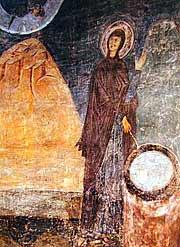 Благовещение у кладезя. Фреска Софийского собора в Киеве. XI в.
