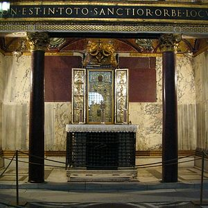 Загрузить увеличенное изображение. 600 x 600 px. Размер файла 112992 b.  Чудотворный образ Спасителя, хранящийся в церкви Святая Святых в Риме