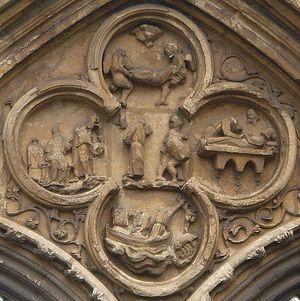 Загрузить увеличенное изображение. 598 x 599 px. Размер файла 98867 b.  Четырехлистник в аббатстве Кроуленд, изображающий сцены из жития святого Гутлака (XIII в.)
